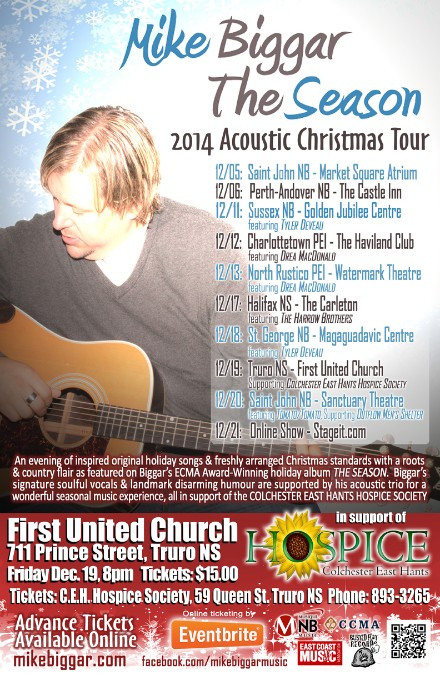 Holiday Bennefit Concert with Mike Biggar @ First United Church | Truro | Nova Scotia | Canada
